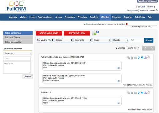 Funcionalidades CRM - Cadastro de Clientes
